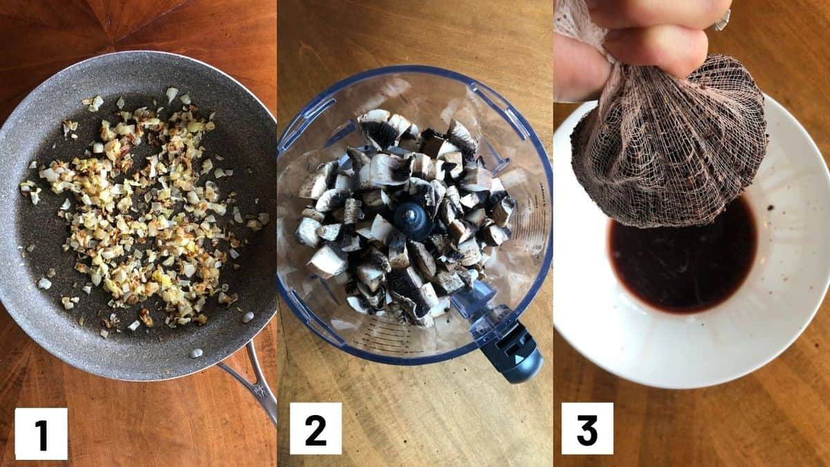 Three side by side images showing how to prepare onions and mushrooms.