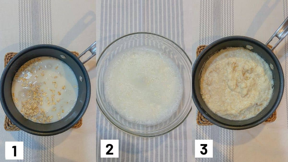 Three side by side images showing how to prepare oats.