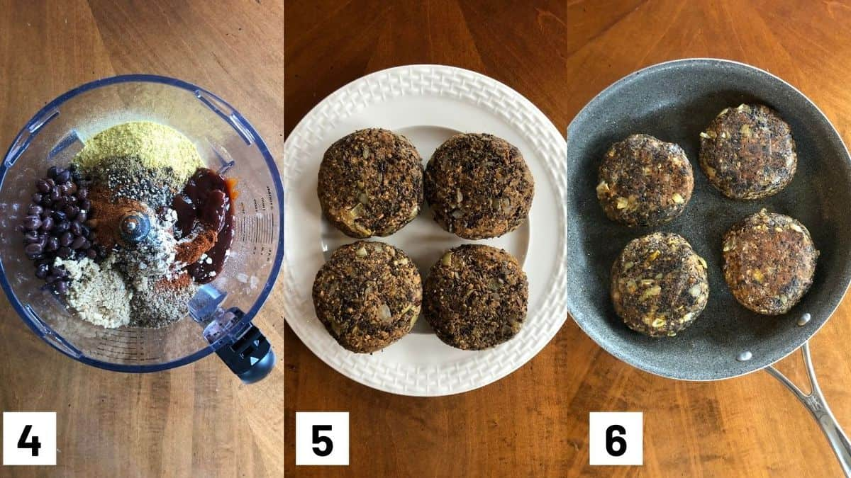 Three size by side images showing how to prepare the patties.
