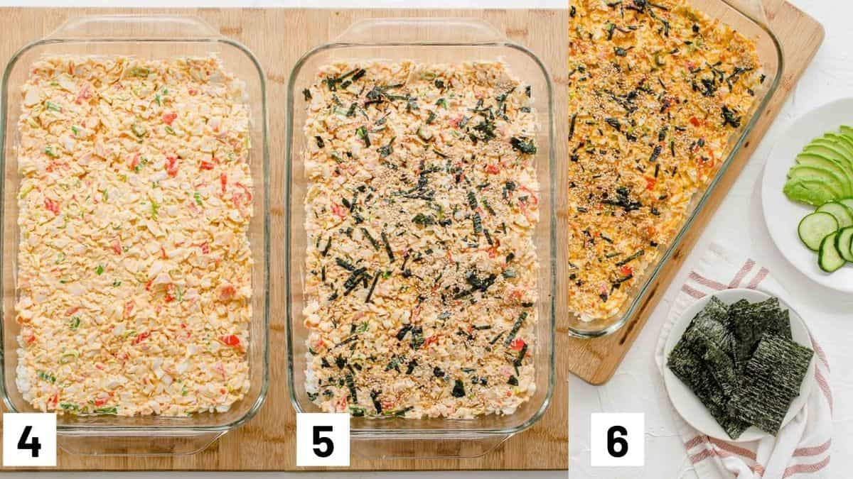 Three side by side images showing how to layer casserole dish.