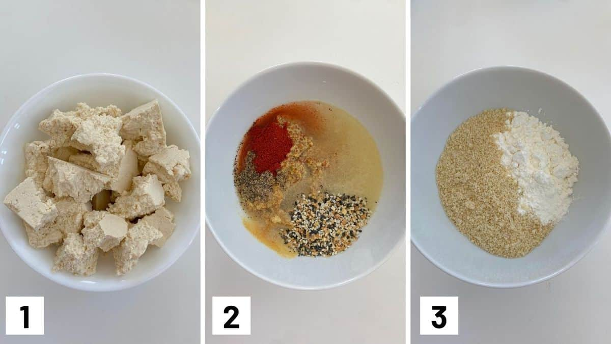 Set of three photos showing ripped tofu, seasoning mix, and flour mixture.