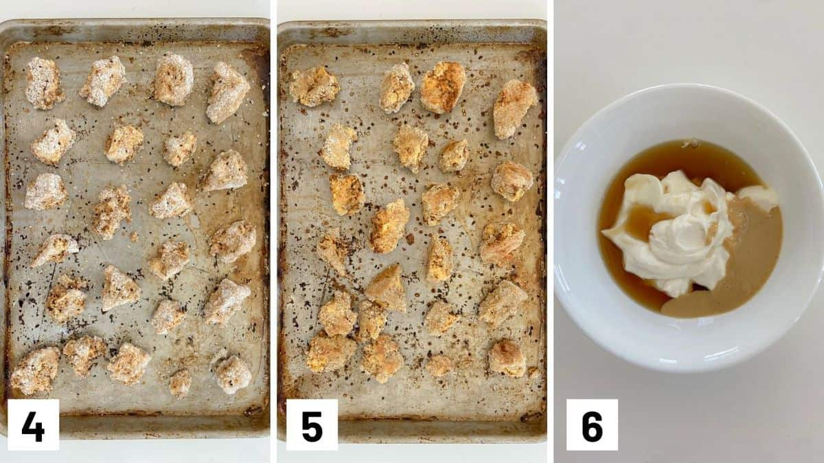 Set of three photos showing baked tofus before and after baking, and ingredients for the dipping sauce.
