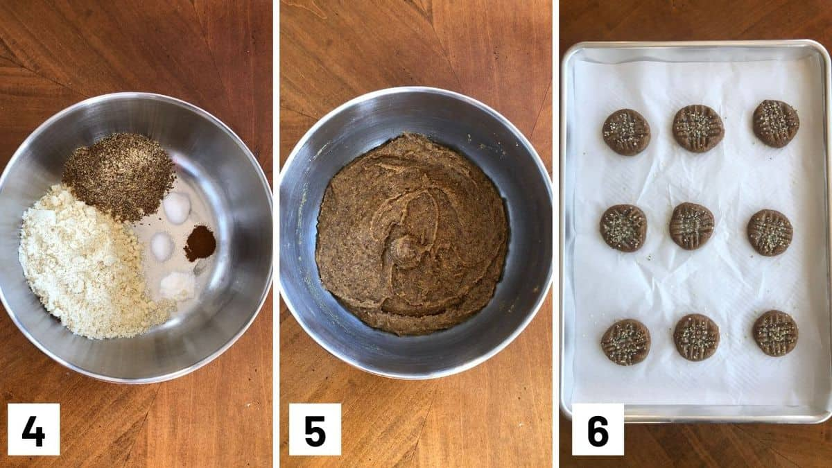 Set of three photos showing the dry ingredients added to a bowl, then mixing dry with wet ingredients, and the cookies baked on a sheet pan.