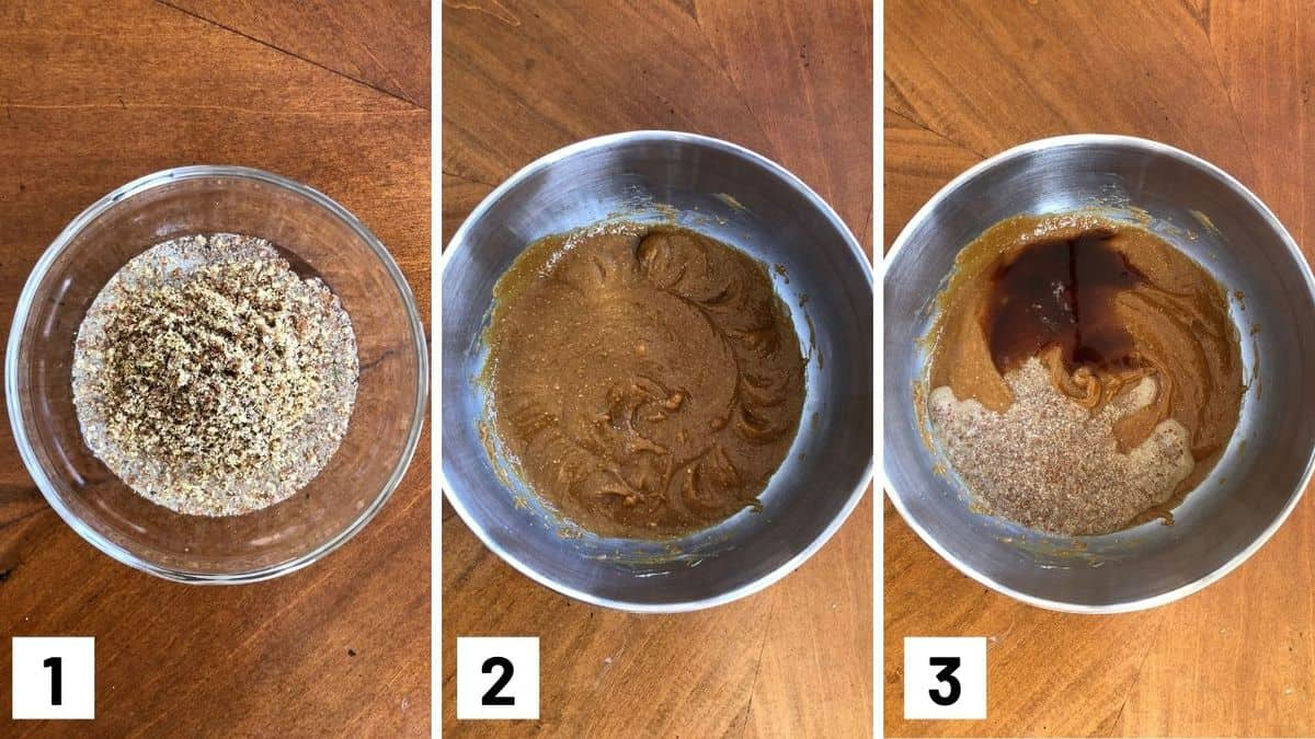 Set of three photos showing flax egg being made, vegan butter being creamed, and flax egg and vanilla added to the butter.