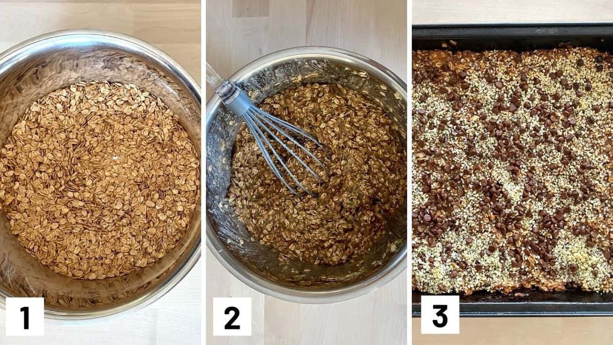 Set of three photos showing mixing the dry ingredients in a bowl, adding in the wet ingredients, then transferring to bake in a pan with toppings.