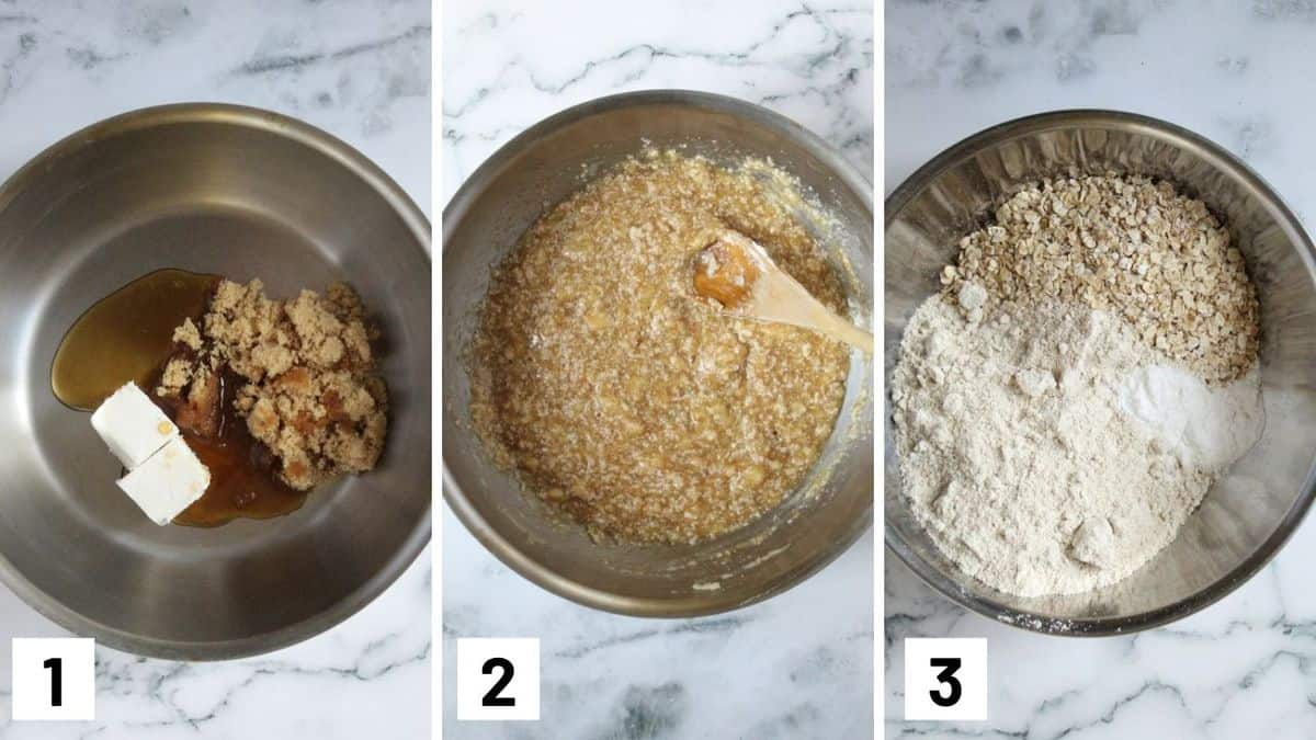 Set of three photos showing how to mix the ingredients together.