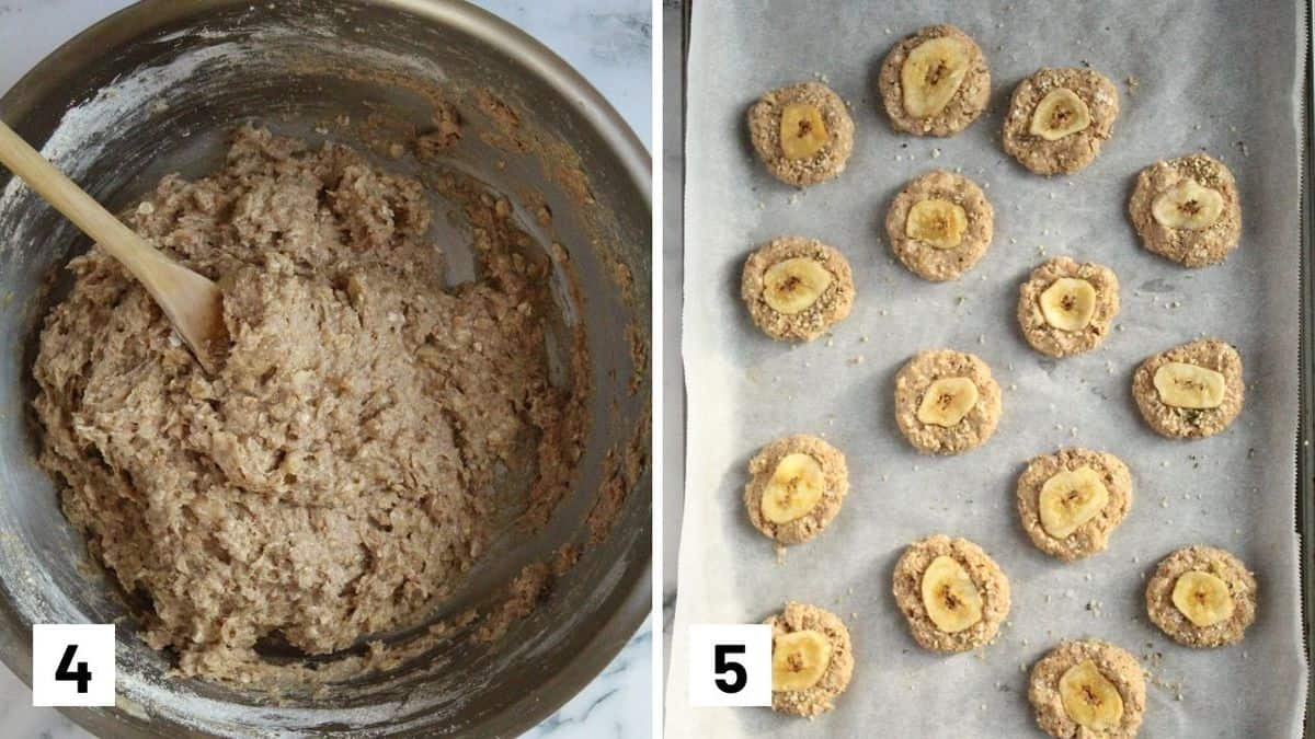 Set of two photos showing the cookie batter mixed and turned into cookies with a banana on top.