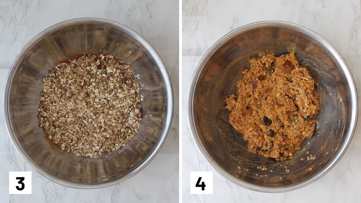 Set of two photos showing dry ingredients mixed together and then mixed with mashed sweet potatoes.