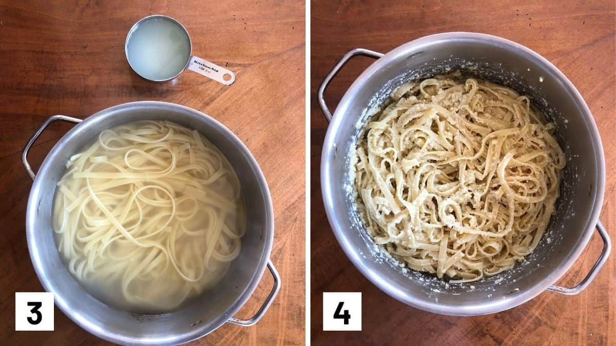 Set of two photos showing pasta being cooked in a pot and then coated in the sauce.
