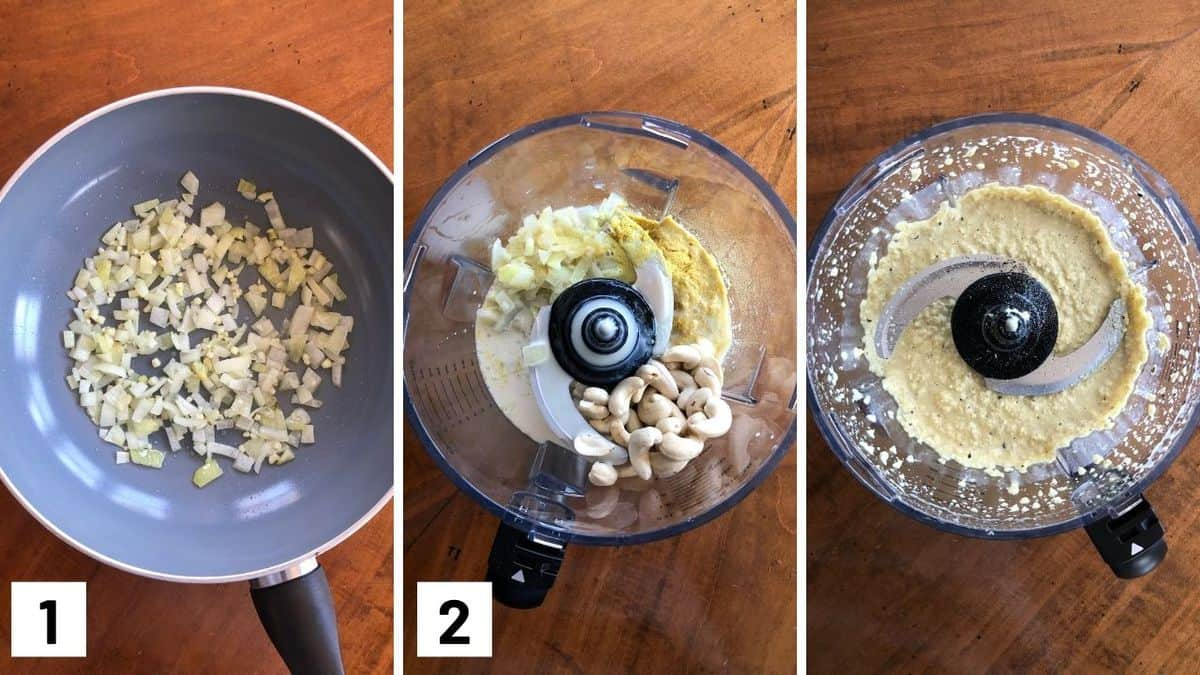 Set of 3 photos showing onions and garlic being cooked and then added to a food processor to blend with other ingredients.