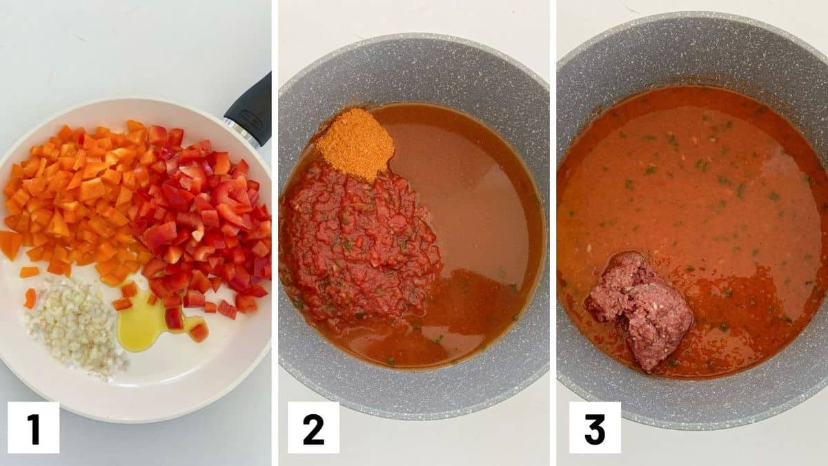 Set of three photos showing how to saute the onions and bell peppers before transferring it to a pot with salsa, taco seasoning, and veggie round.