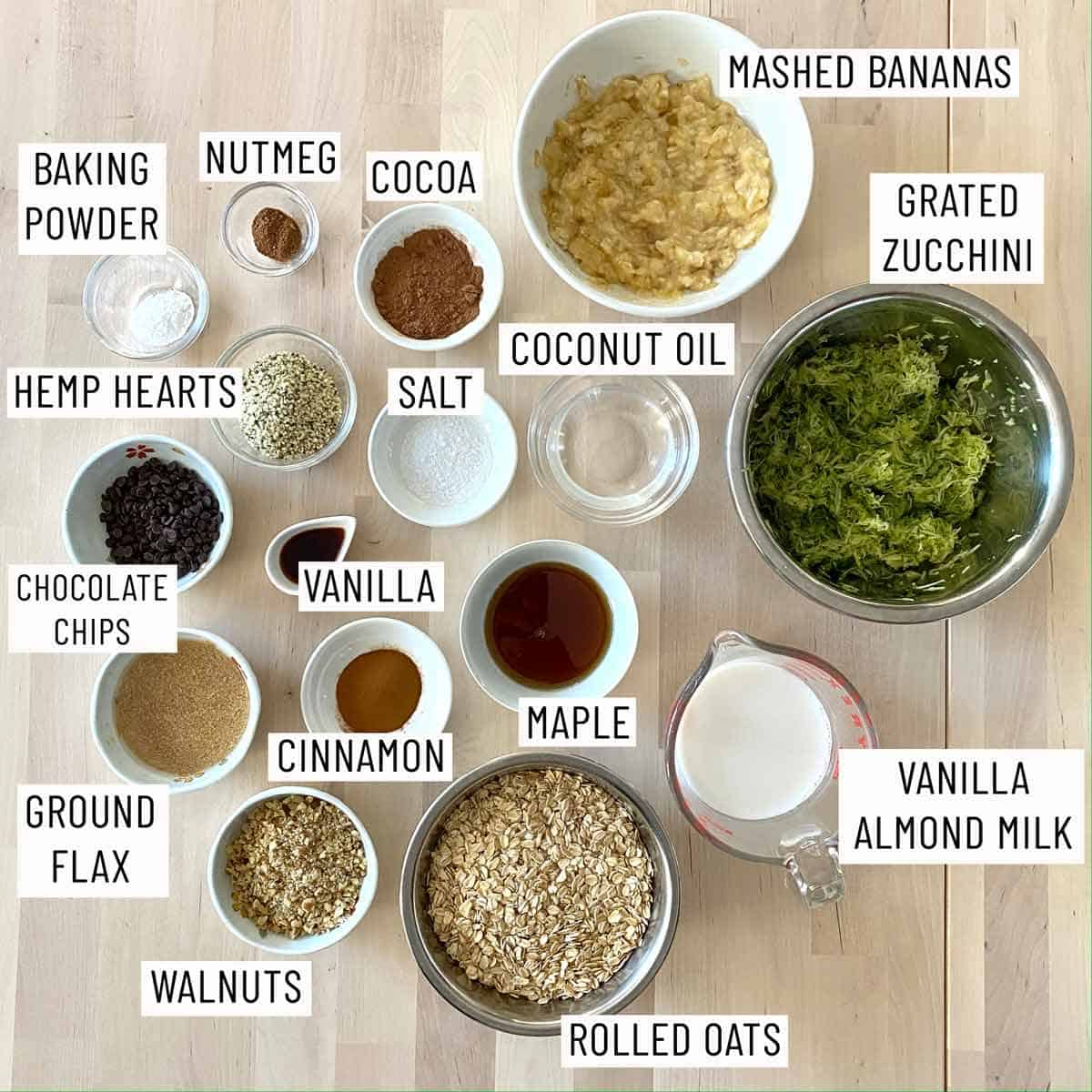 Ingredients needed to make Vegan Baked Oatmeal with Chocolate and Zucchini.