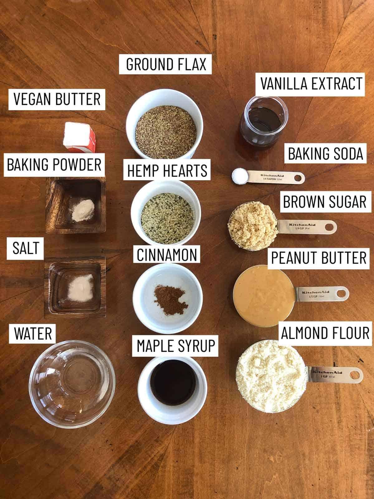 Ingredients needed to make Healthy Peanut Butter Cookies.
