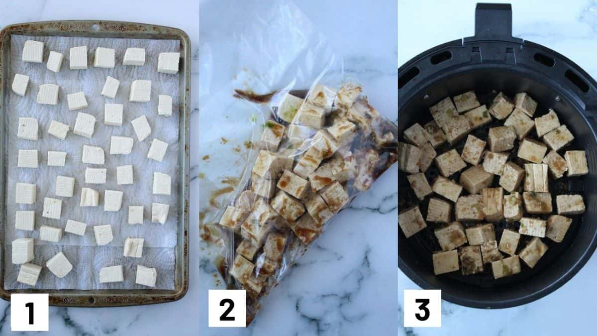 Three side by side images showing how to prepare air fryer tofu.