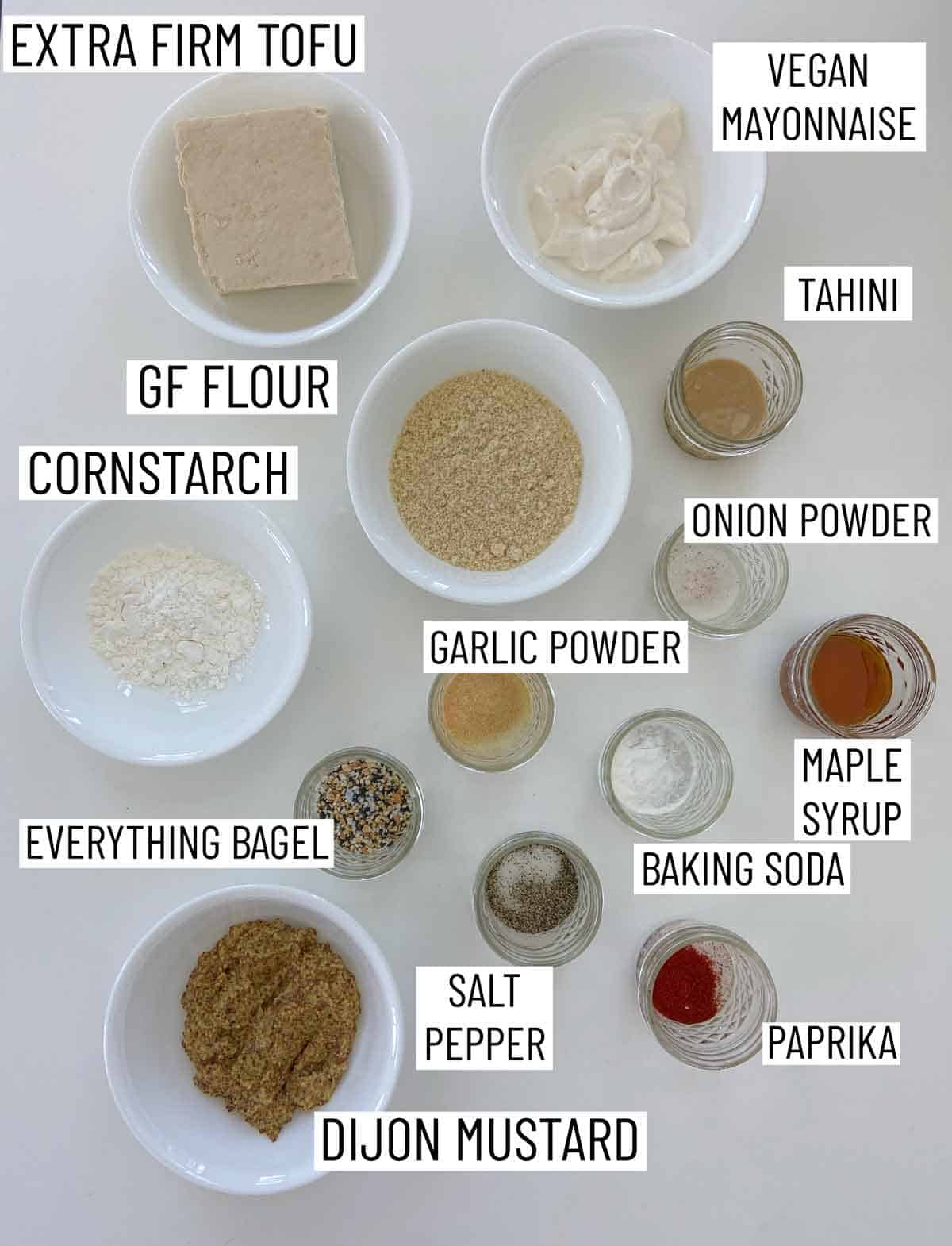 Ingredients needed to make Baked Tofu Nuggets.