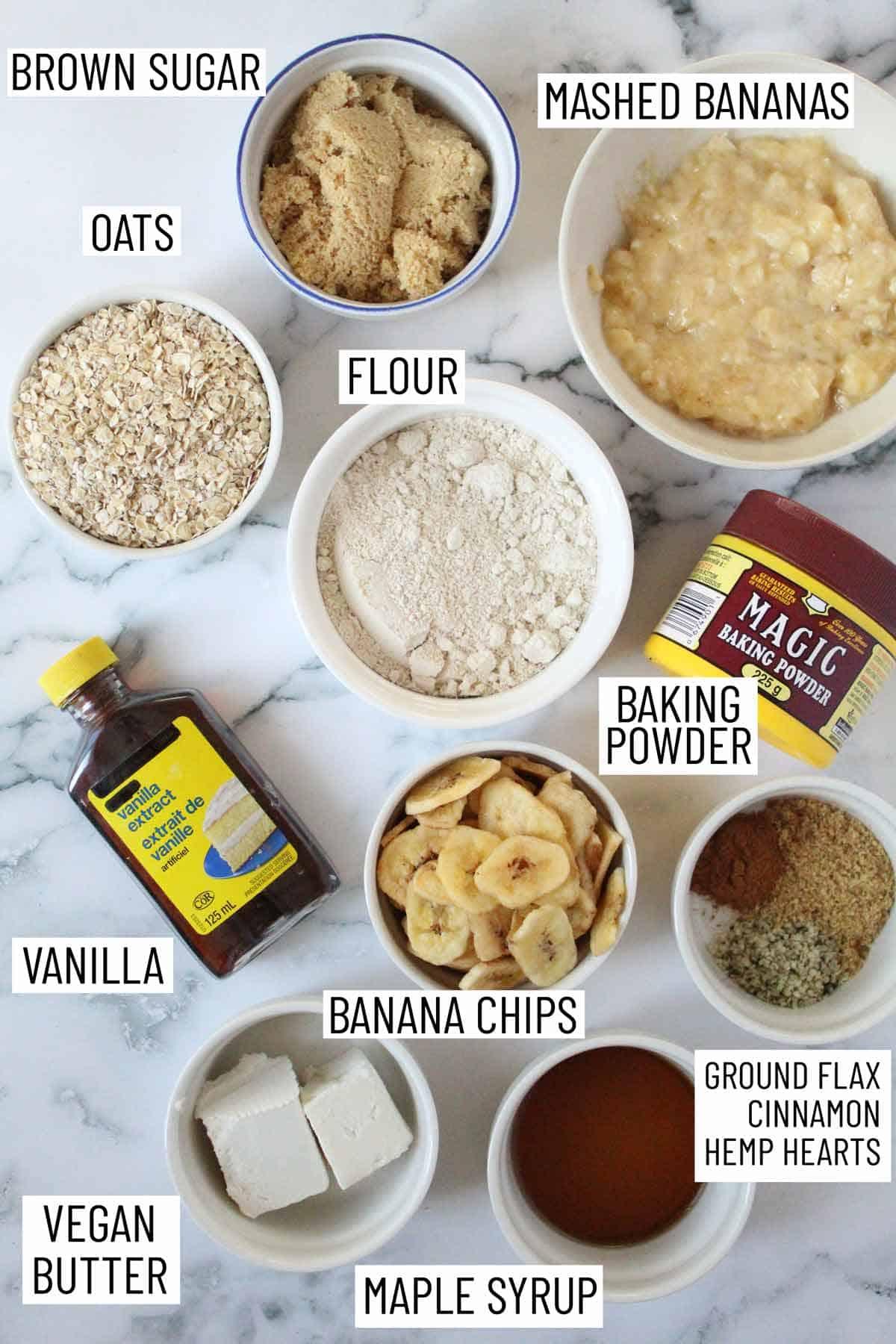 Ingredients needed to make banana oatmeal cookies.