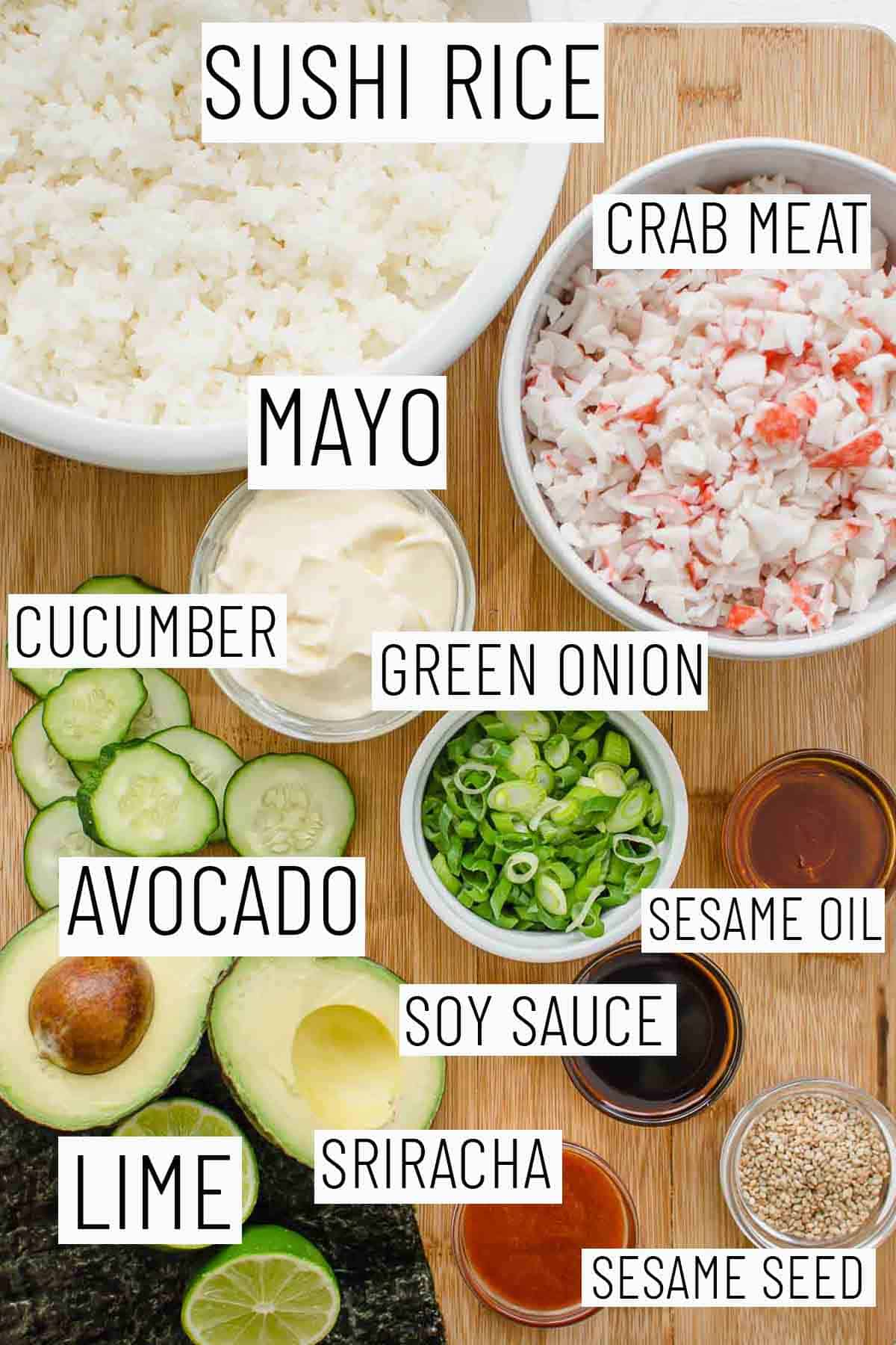 Flat lay image of portioned recipe ingredients.