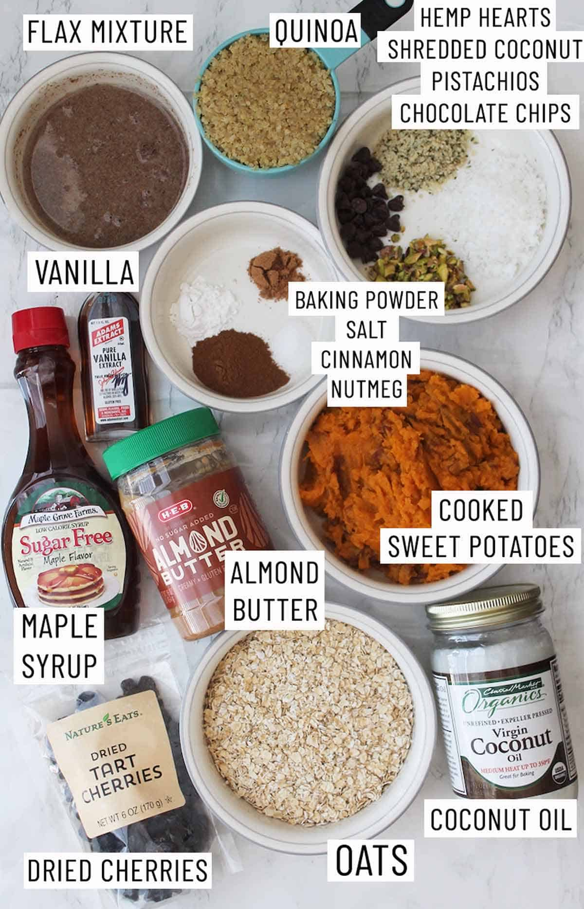 Ingredients needed to make sweet potato breakfast bar.