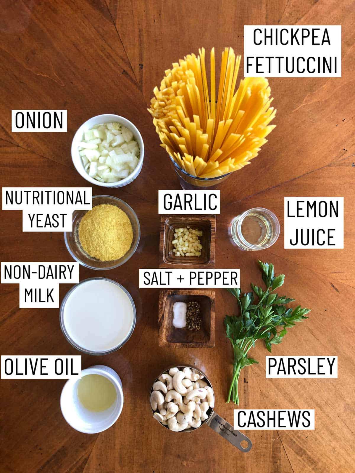 Ingredients needed to make vegan fettuccini.