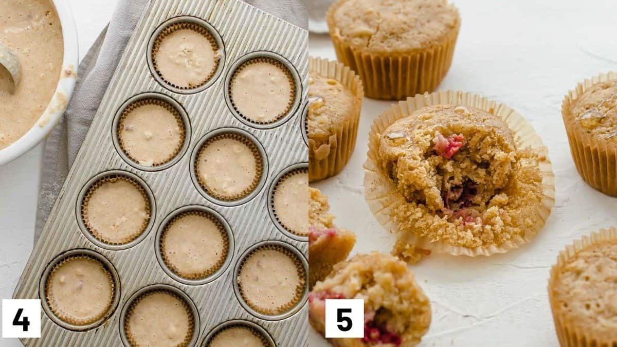 Two side by side images showing how to portion batter in muffin tin and final baked muffins.