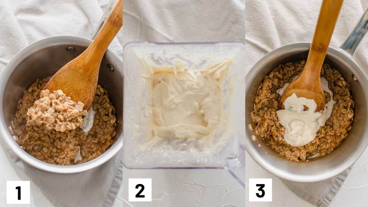 Three side by side images showing how to prepare oats and tofu.