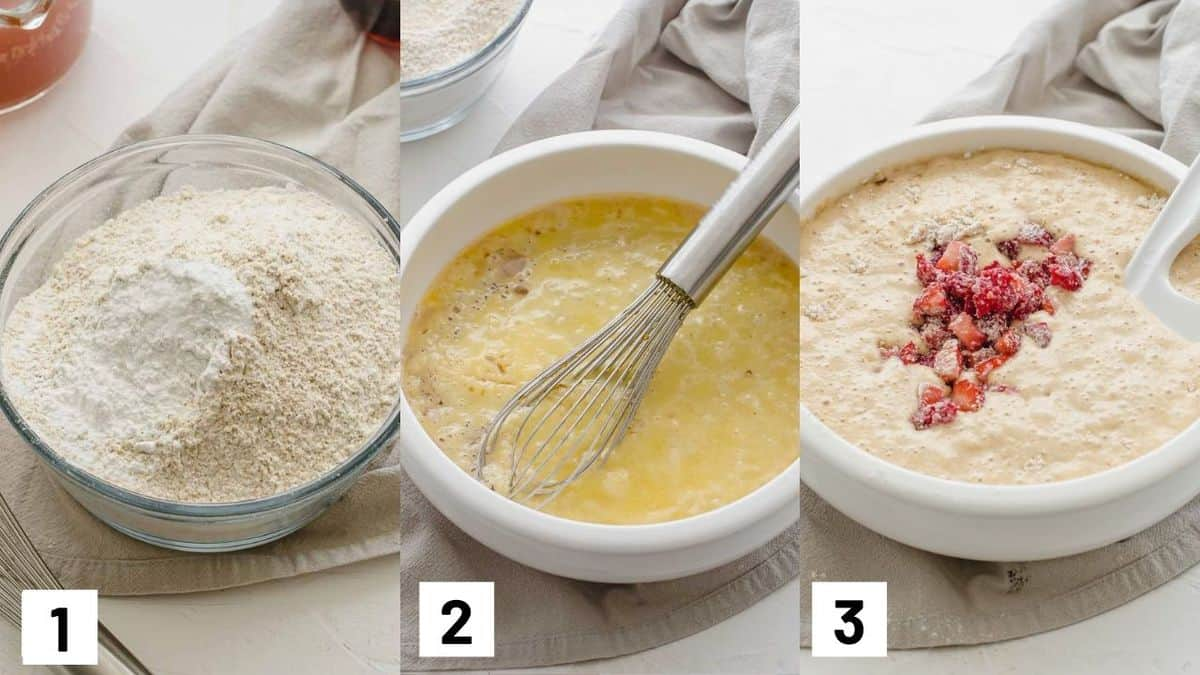 Three side by side images showing how to prepare dry and wet batter.