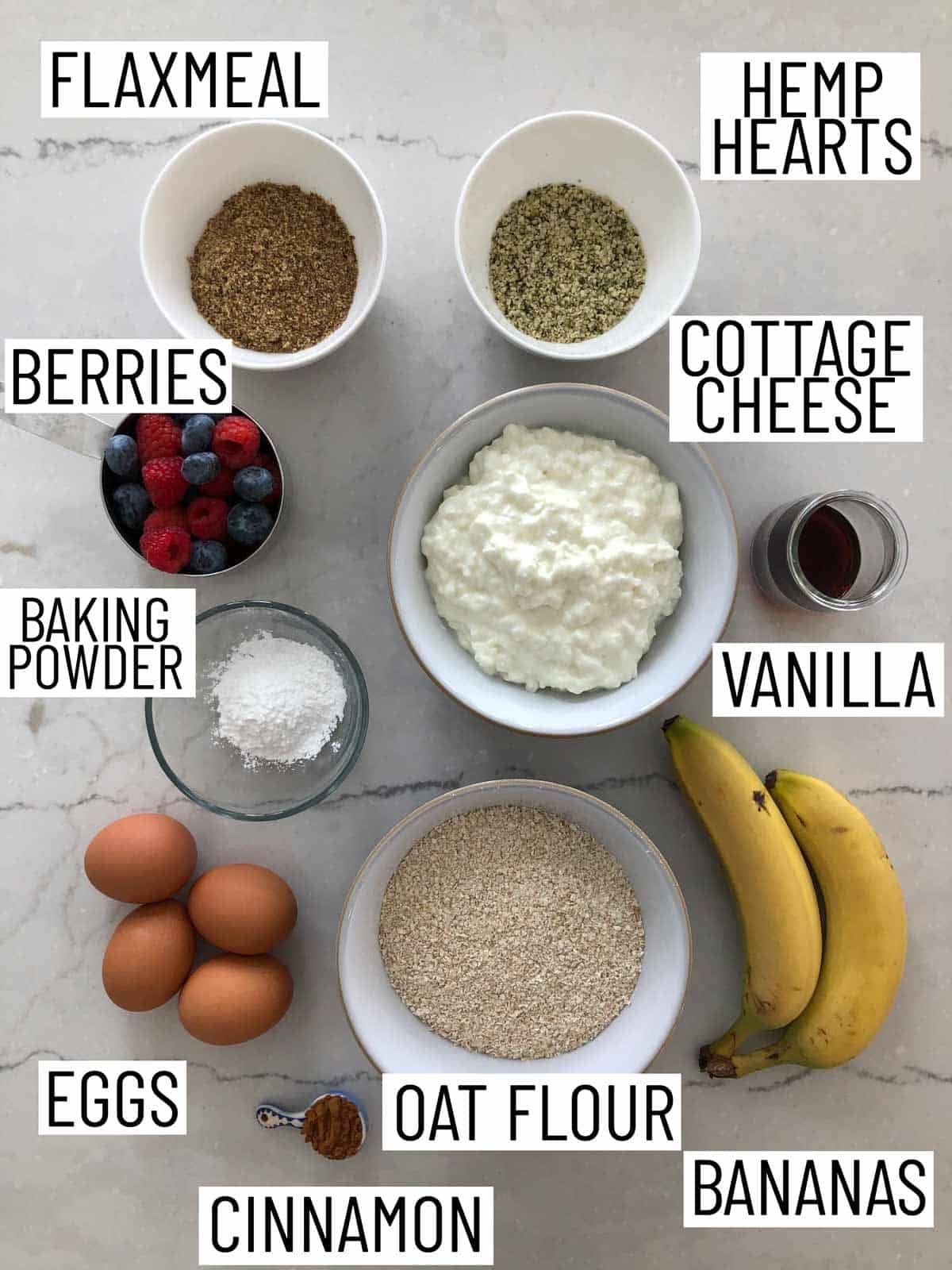 Ingredients needed to make a sheet pan pancake.