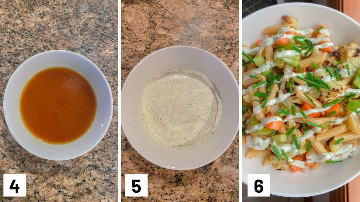 Set of three photos showing sauce being made, ranch sauce in a bowl, and then the recipe assembled.