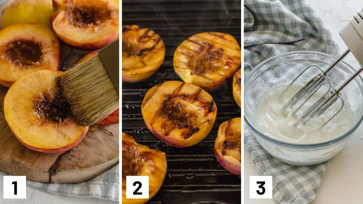 Set of three photos showing peaches being brushed and then grilled and a bowl of coconut milk being whipped.