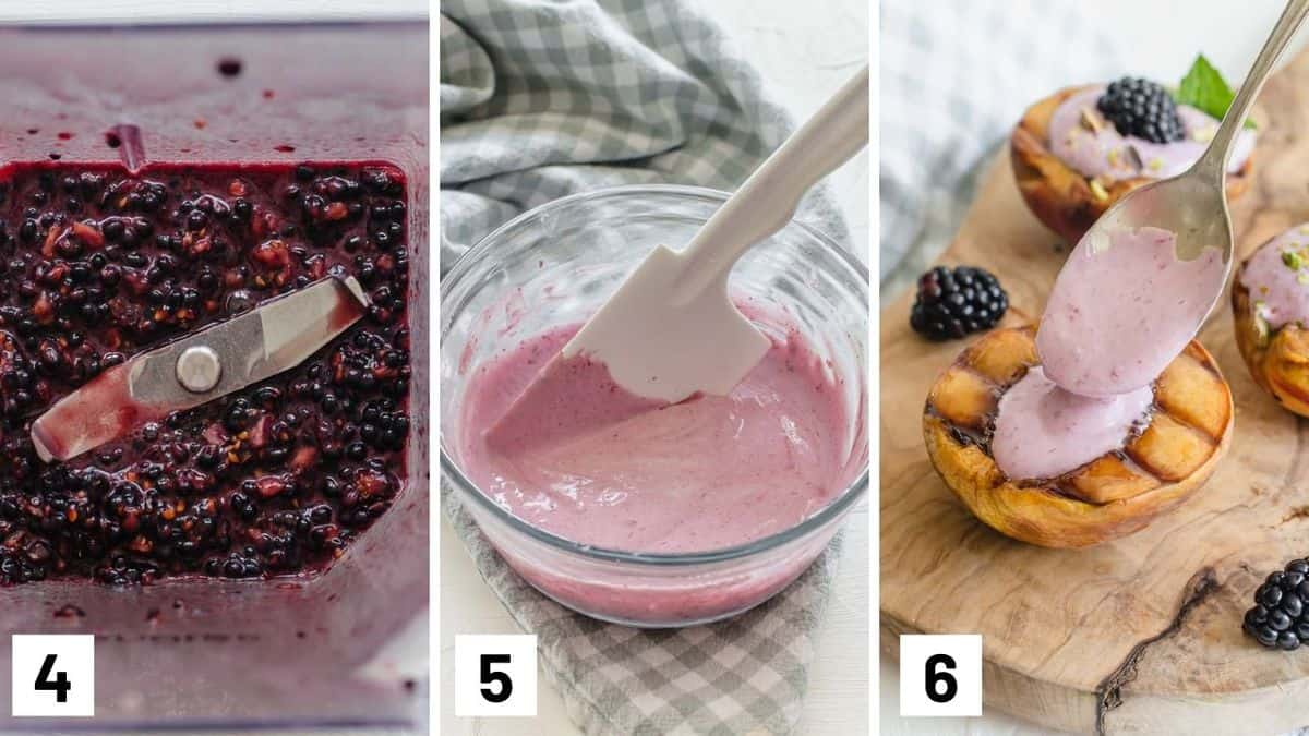 Set of three photos showing blackberries being blended then mixed with coconut cream before spooning it into half a peach.