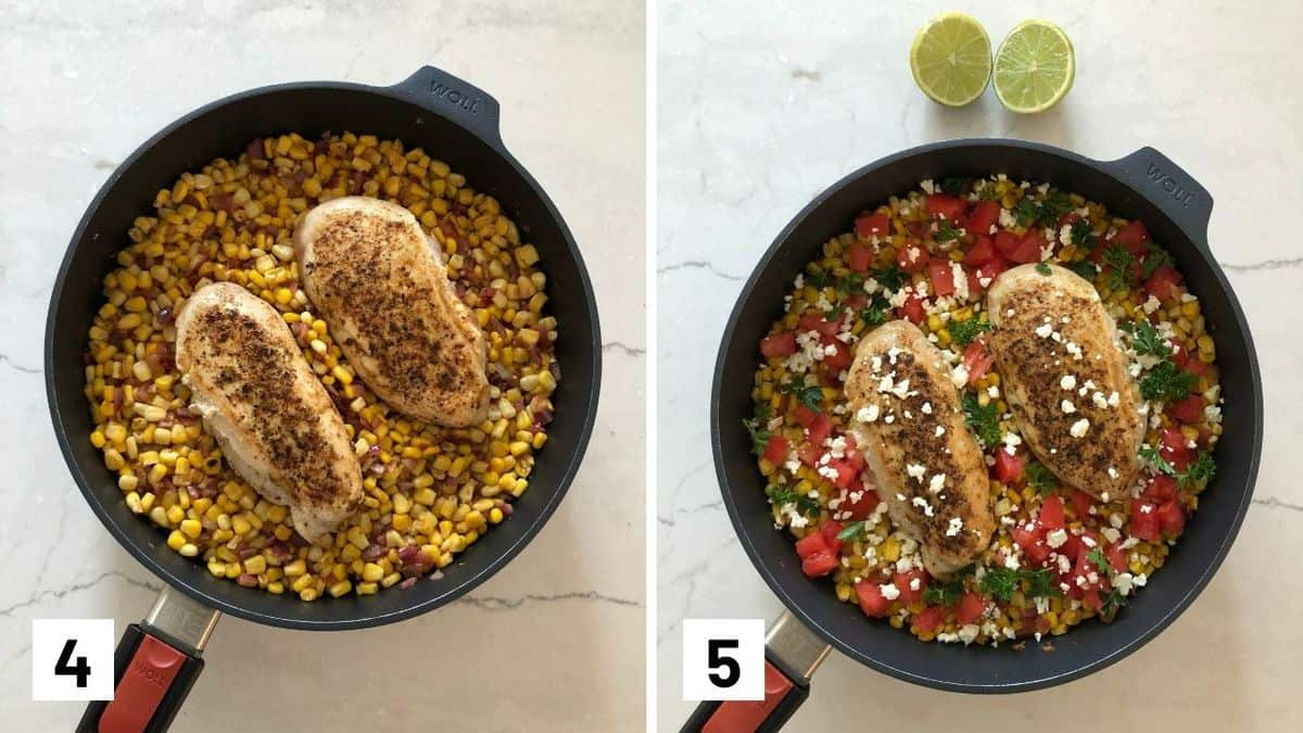 Set of two photos showing two chicken breasts over top of corn salsa and then topped with cheese and diced tomatoes.