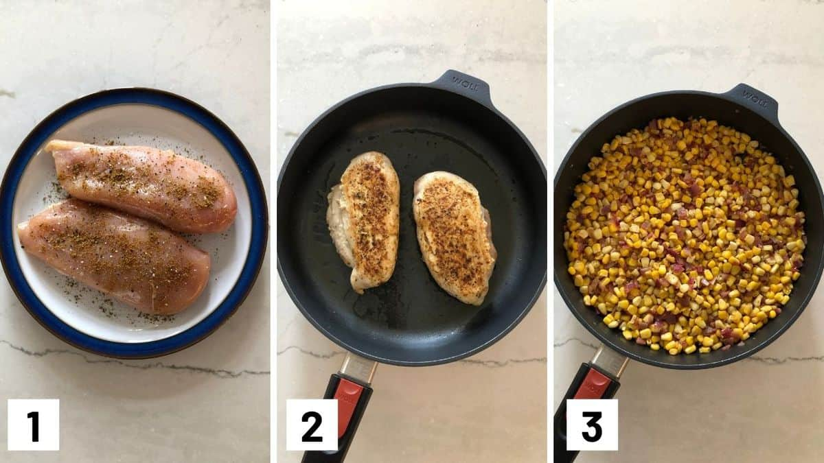 Set of three photos showing the chicken breasts seasoned, seared, and then seasoned corn in a skillet.
