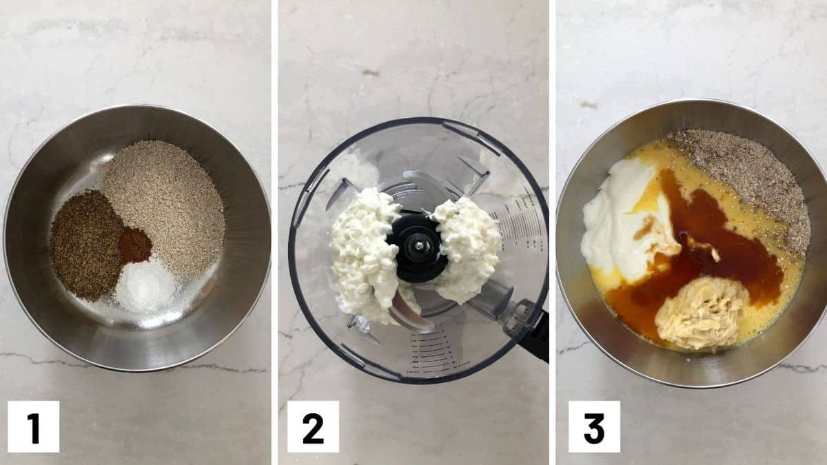 Set of three photos showing dry ingredients in a bowl, cottage cheese in a food processor, and then all ingredients combined.