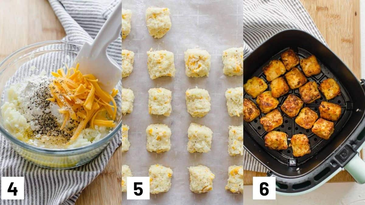 Three side by side images showing how to combine remainder of ingredients, forming into shape on a baking sheet, and frying in an air fryer.
