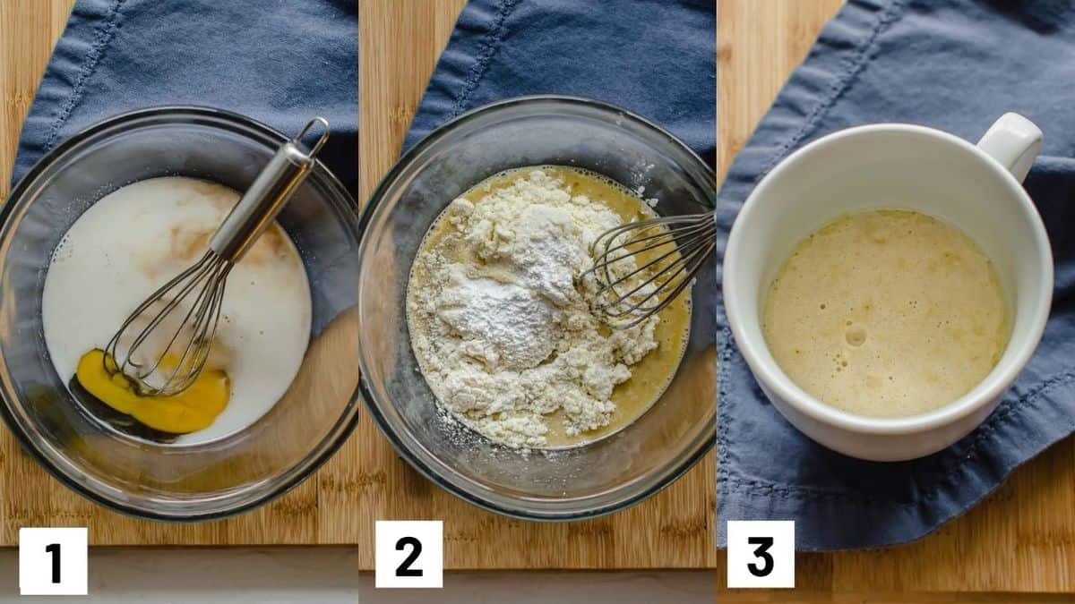 Three side by side images showing how to prepare recipe.