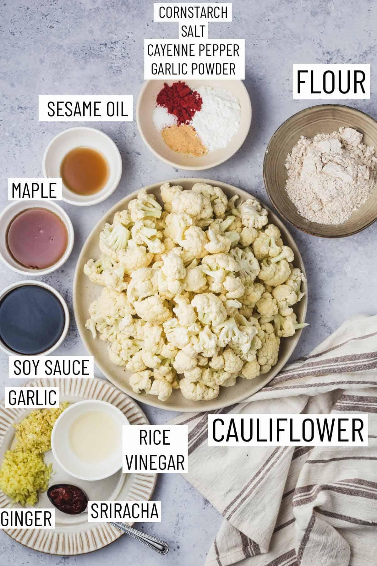 Ingredients needed to make vegan cauliflower wings.