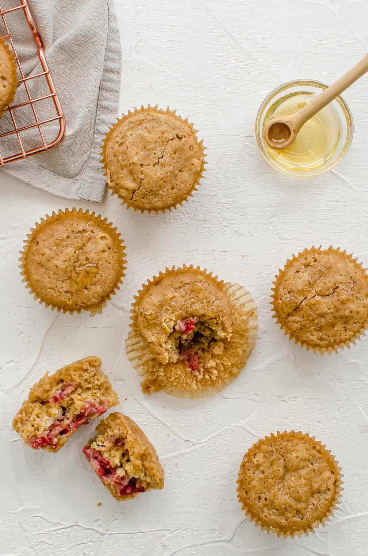 Birds eye view image of raspberry muffins.