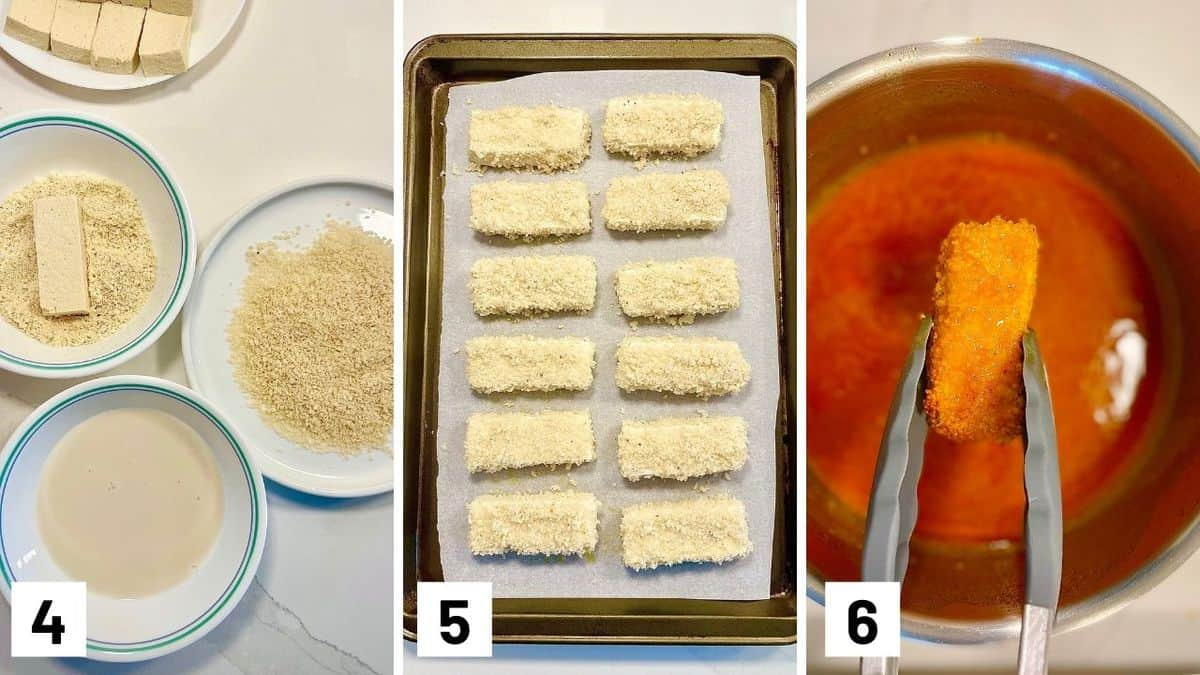 Set of three photos showing tofu breaded in bowls, placed on a sheet pan, and dipped in buffalo sauce.