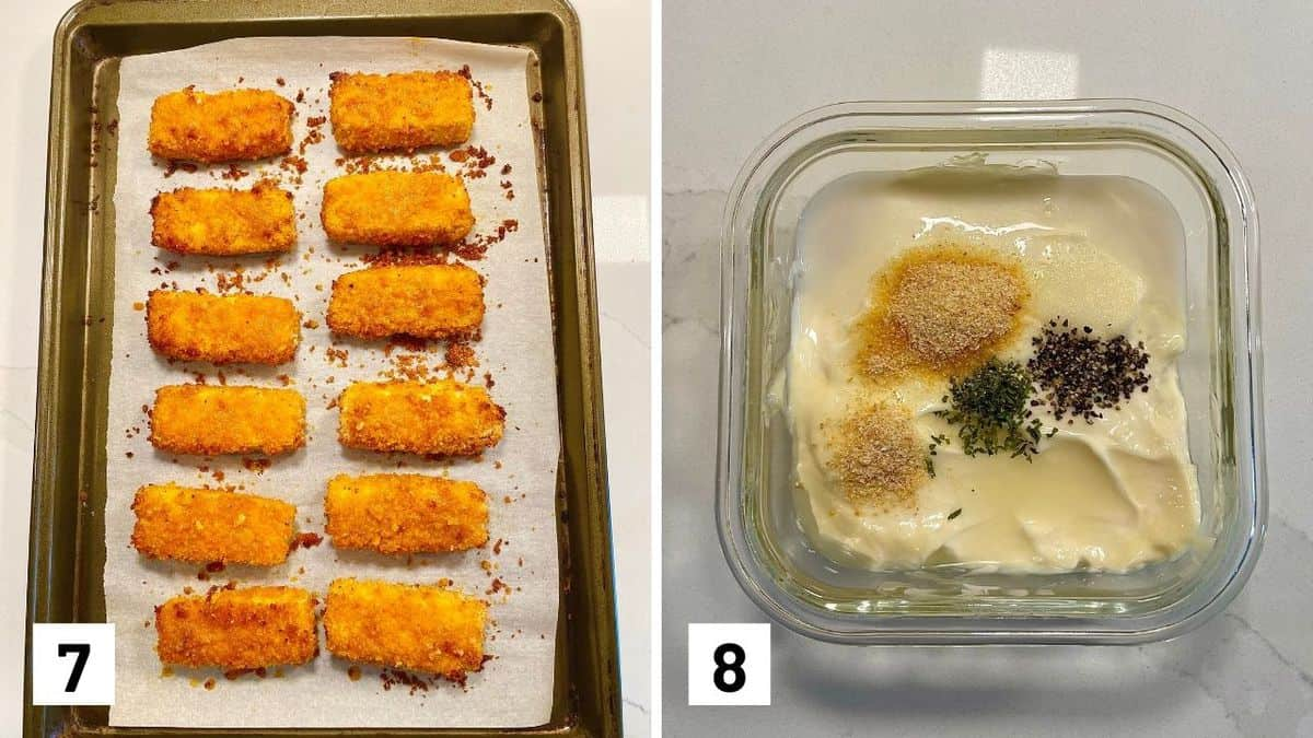 Set of two photos showing the buffalo tofu sticks firming up on a sheet pan and ranch dip being mixed.