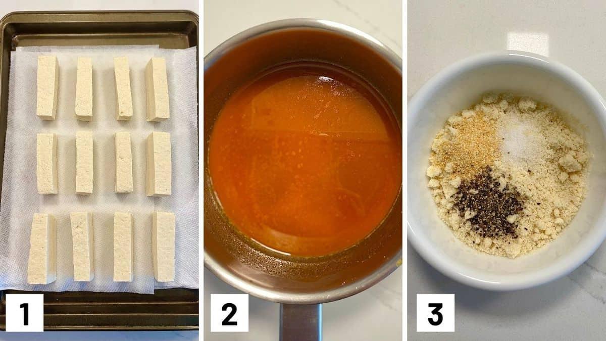 Set of three photos showing cut tofu, buffalo sauce, and dry seasoning.
