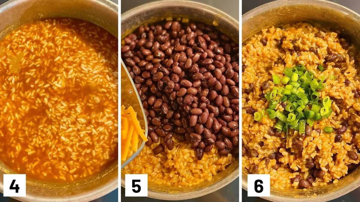 Set of three photos showing cooked rice mixed with beans, cheese, and green onions.