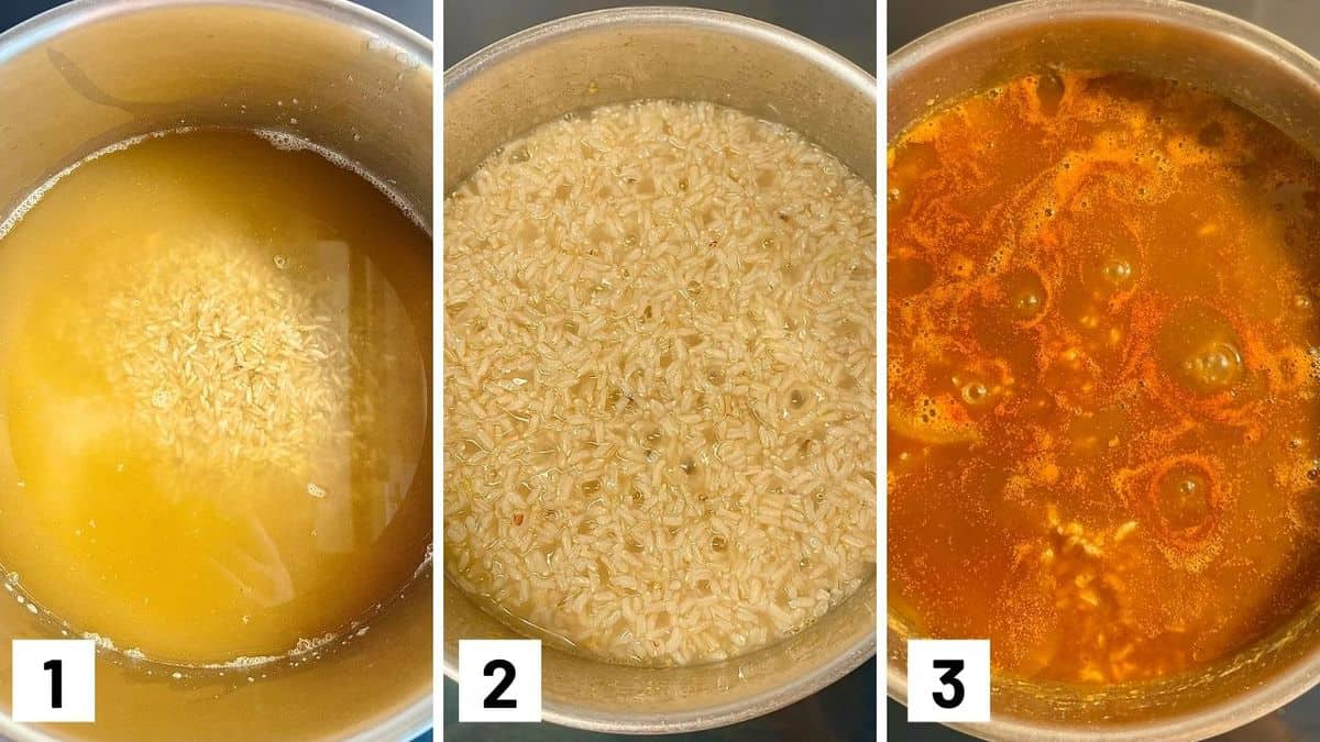 Set of three photos showing rice being cooked in broth then enchilada sauce added.