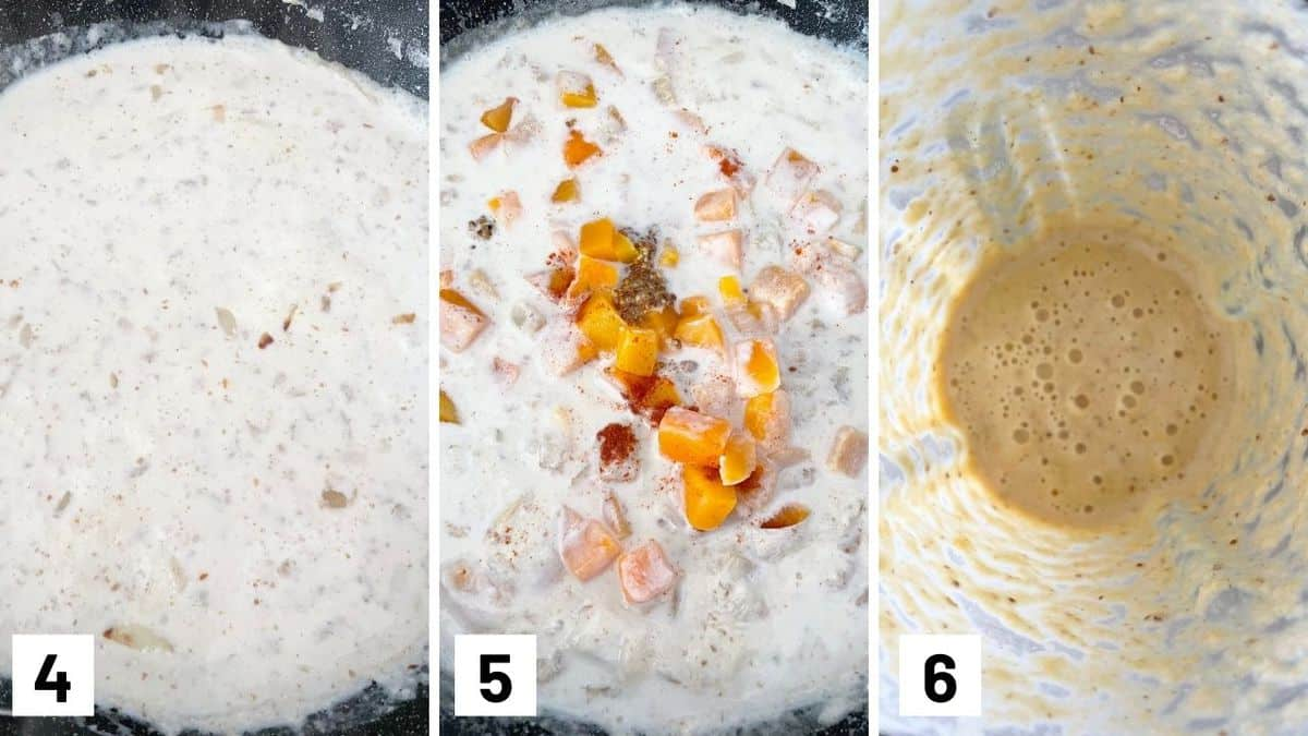 Set of three photos showing making a butternut squash sauce.