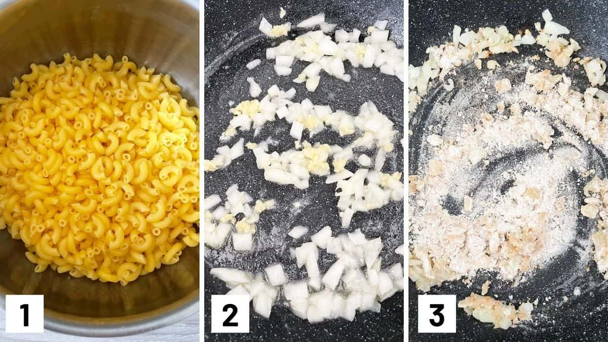 Set of three photos showing cooked pasta and making a roux.
