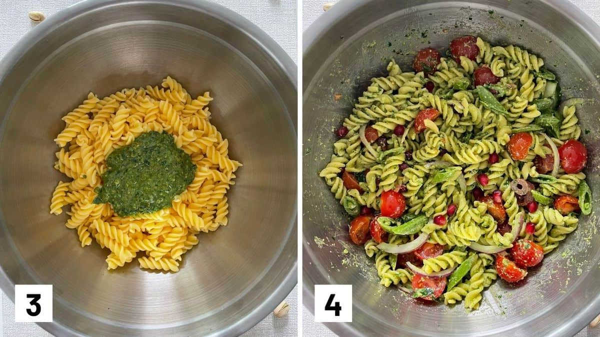 Set of two photos showing the pasta and pesto together in a bowl then tossed with vegetables.