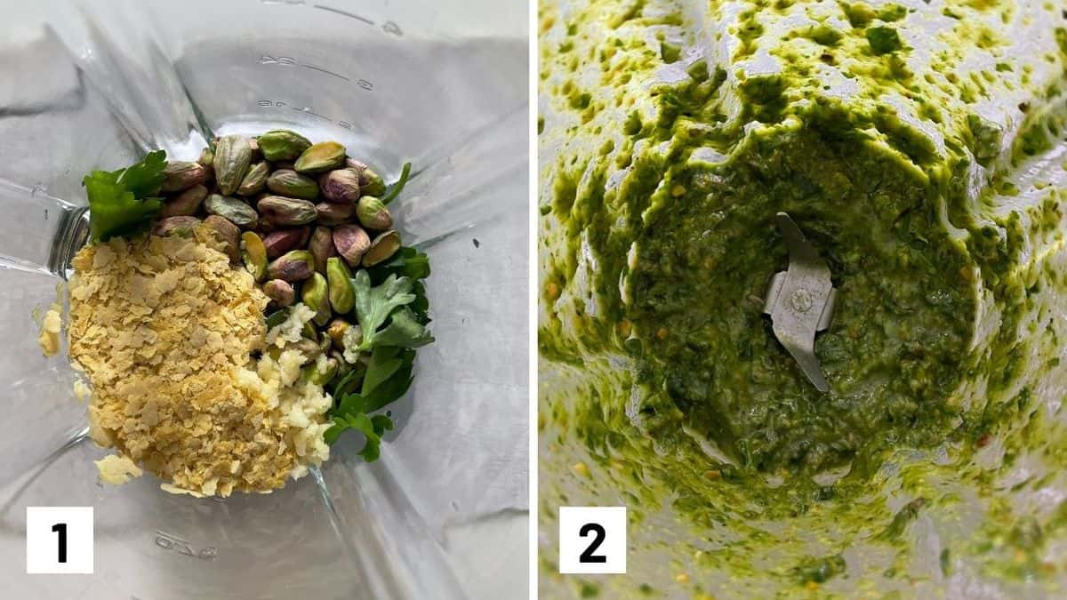 Set of two photos showing pesto ingredients in a blender then blended up.