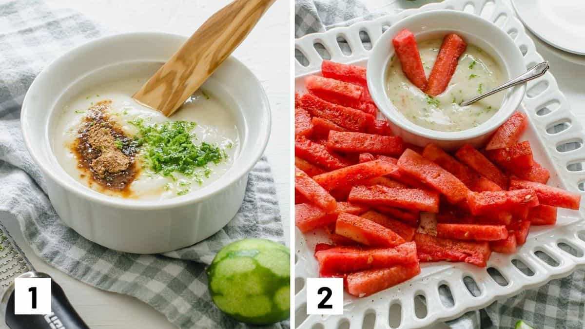 Set of two photos showing how to make the coconut lime dipping sauce and then plated with the sticks.