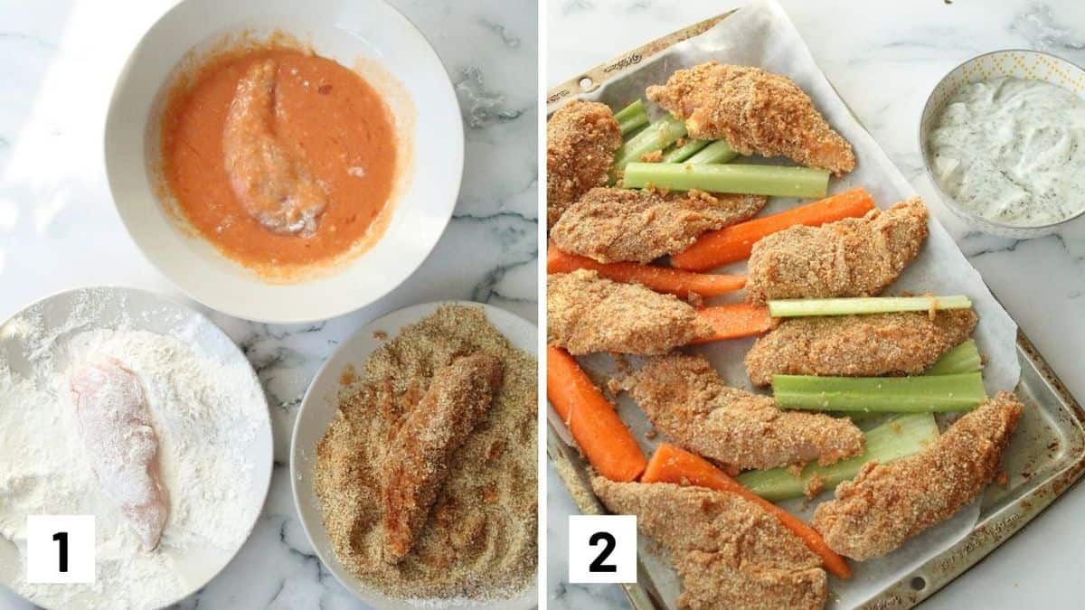 Set of two photos showing how to make buffalo chicken strips.