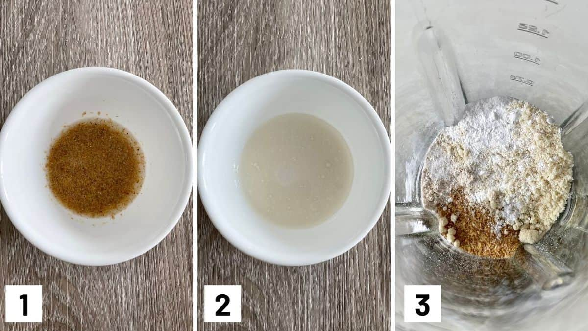 Set of three photos showing flax egg being made, then the ingredients combined and blended.