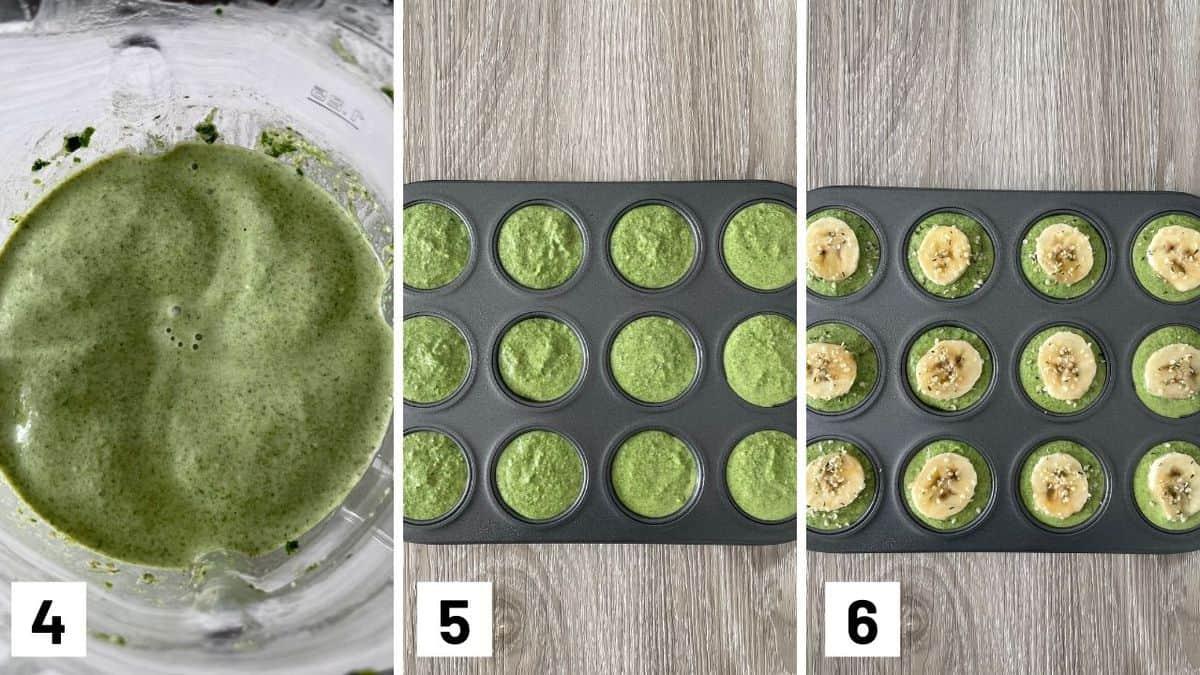 Set of two photos showing spinach blended and then added to a muffin tin with a banana slice added on top.
